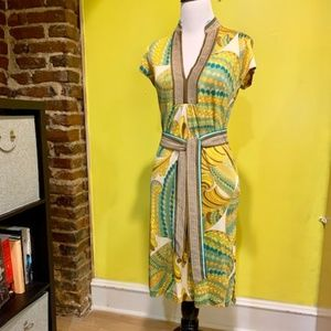 Trina Turk Yellow/Blue/Copper Dress | Size 4